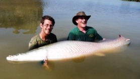 Richard with arapaima on holiday in Feb in Thailand